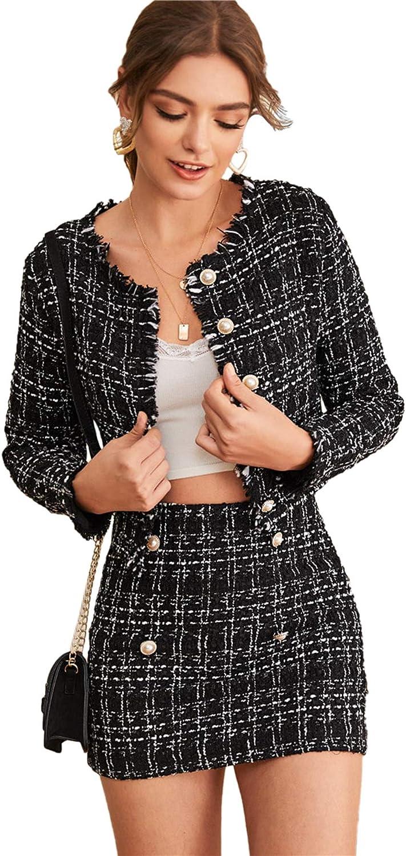 SweatyRocks Women's Business Suit 2 Pieces Tweed Blazer Jacket Coat and Skirt Set