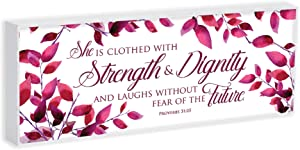 Elanze Designs Proverbs 31 Woman 8 x 3 Wood Double Sided Table Top Sign Plaque