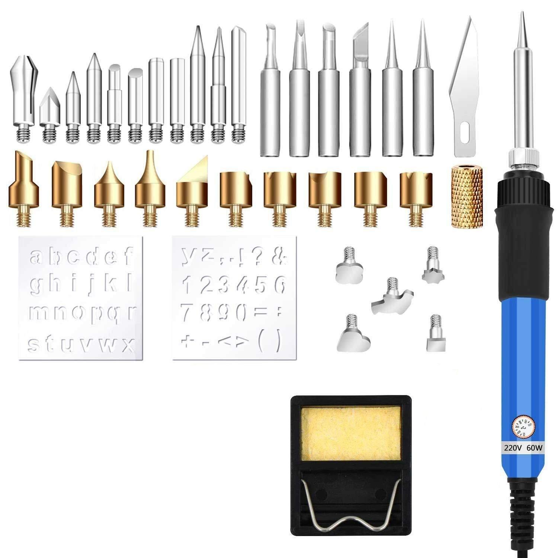 Wood Burning Kit, 37PCS Pyrography Pen Kit Wood Soldering Tool Kit/Pyrography Iron Pen Wood Craft Tool Set for Soldering Cutting and Carving (Blue) SUPAREE