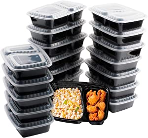 Meal Prep Containers [20 Pack] 2 Compartment with Lids,32oz Food Prep Containers Disposable Food Containers,Reusable Plastic Bento Box,BPA Free,Microwave/Dishwasher/Freezer Safe