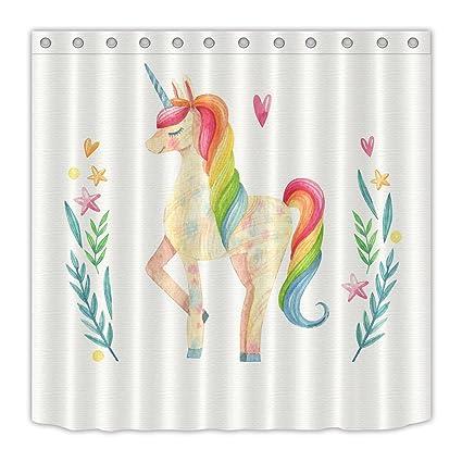 LB Cute Watercolor Unicorn Shower Curtains Bathroom Colorful Fantasy House Decor Girls Women