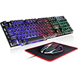 RGB Gaming Keyboard and Colorful Mouse Combo,USB Wired LED Backlight Gaming Mouse and Keyboard for Laptop PC Computer Gaming