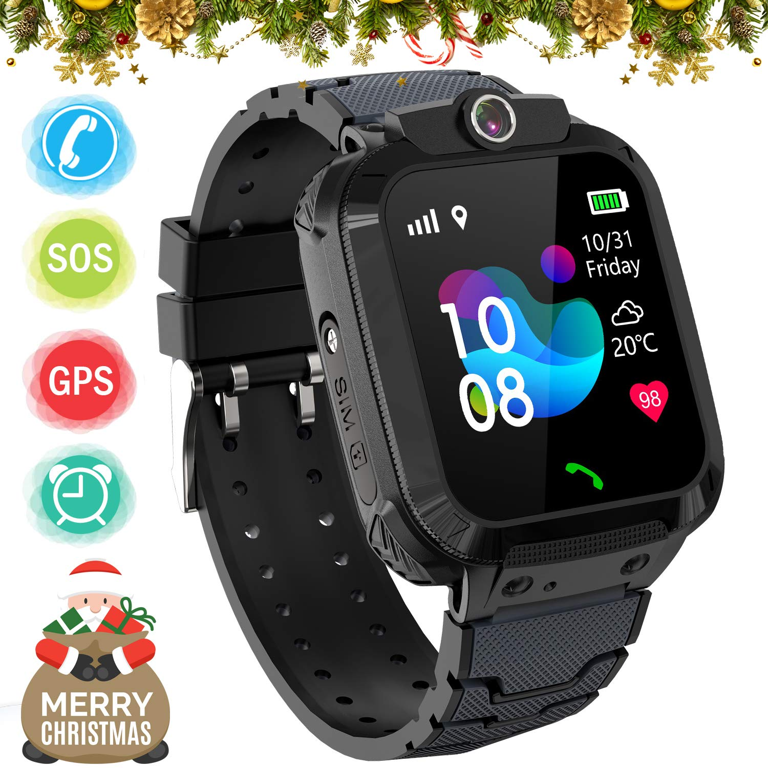 Kids GPS Smart Watch Phone for Boys Girls – Waterproof GPS Locator Smartwatch Phone with 2 Ways Call Camera Voice Chat SOS Alarm Clock Game Pedometer ...