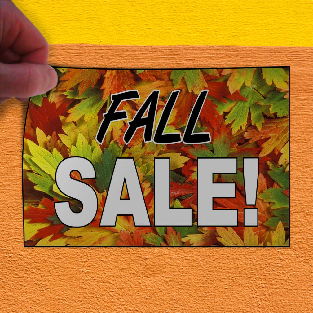 Set of 2 52inx34in Decal Sticker Multiple Sizes Fall Sale Orange Black White Business Sale Outdoor Store Sign Orange