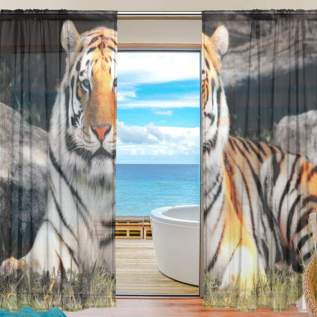 DOSHINE Vorhang Tier-Amur Tiger Vorhänge Fenster Vorhang für Jungen Mädchen Wohnzimmer Badezimmer Schlafzimmer 139,7 x 198 cm 2 Panels, Polyester, Multi, 55