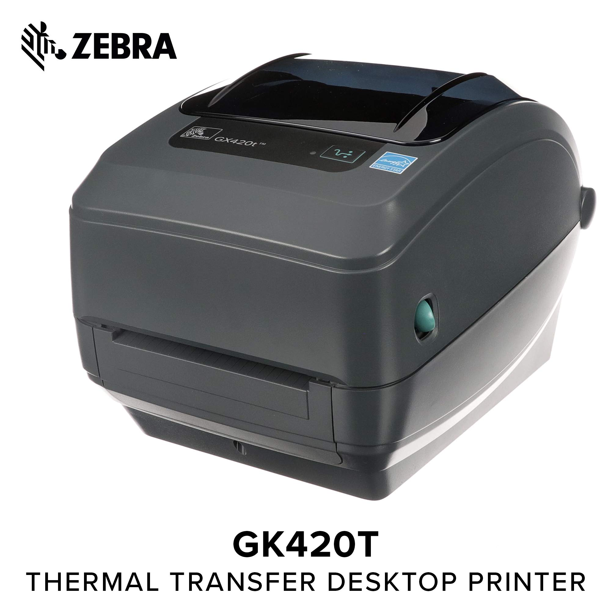 Zebra - GX420t Thermal Transfer Desktop Printer for Labels, Receipts, Barcodes, Tags, and Wrist Bands - Print Width of 4 in - USB, Serial, and Parallel Port Connectivity
