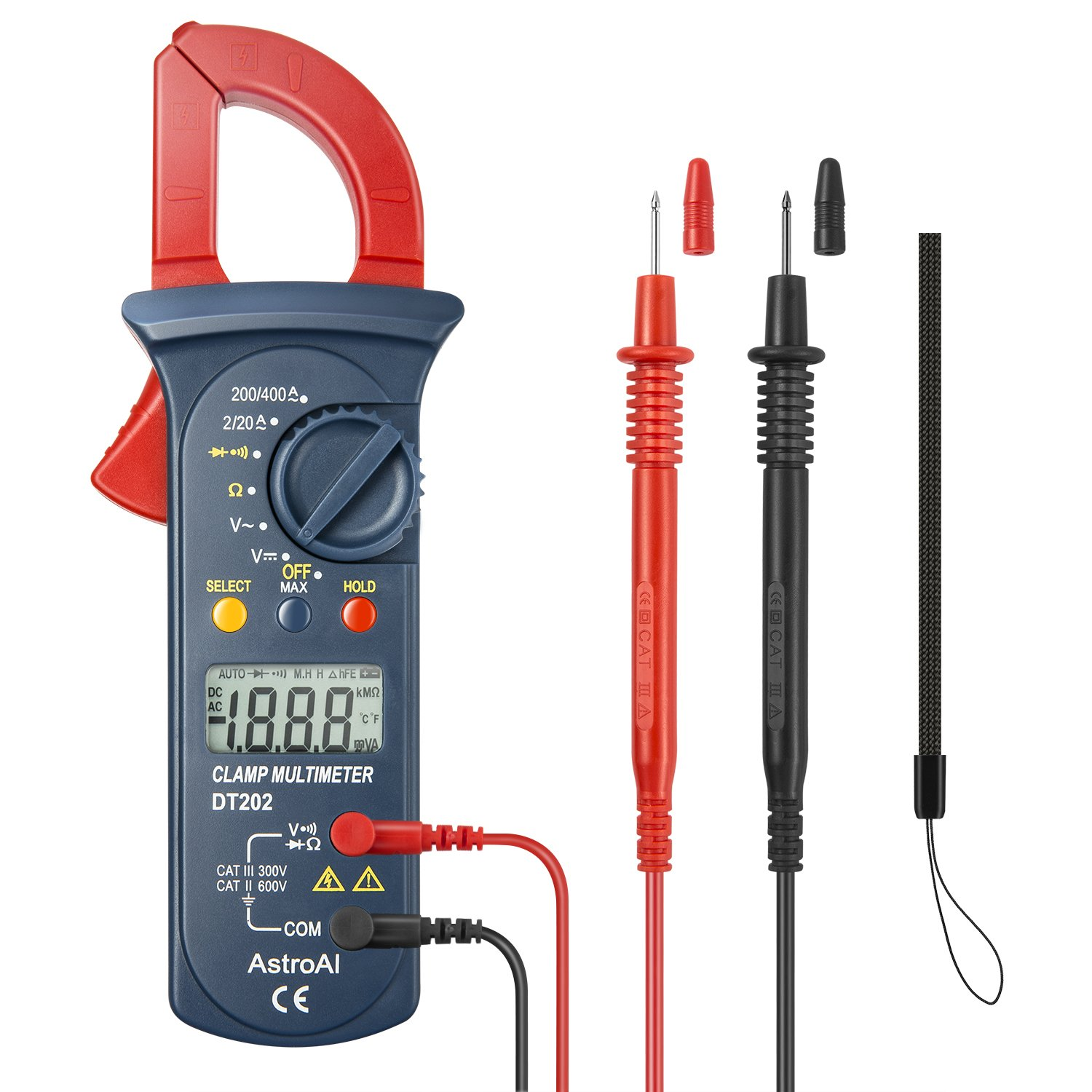 AstroAI Digital Clamp Meter, Multimeter Volt Meter with Auto Ranging; Measures Voltage Tester, AC Current, Resistance, Continuity; Tests Diodes, Red/Black by AstroAI