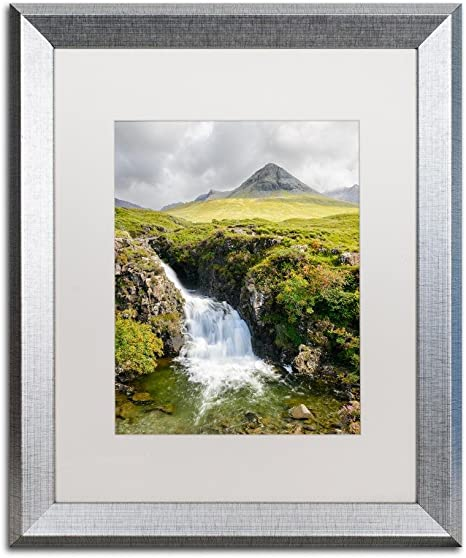 Amazon Com Waterfall By Michael Blanchette Photography Artwork In White Matte With Silver Frame 16 X 20 Home Kitchen