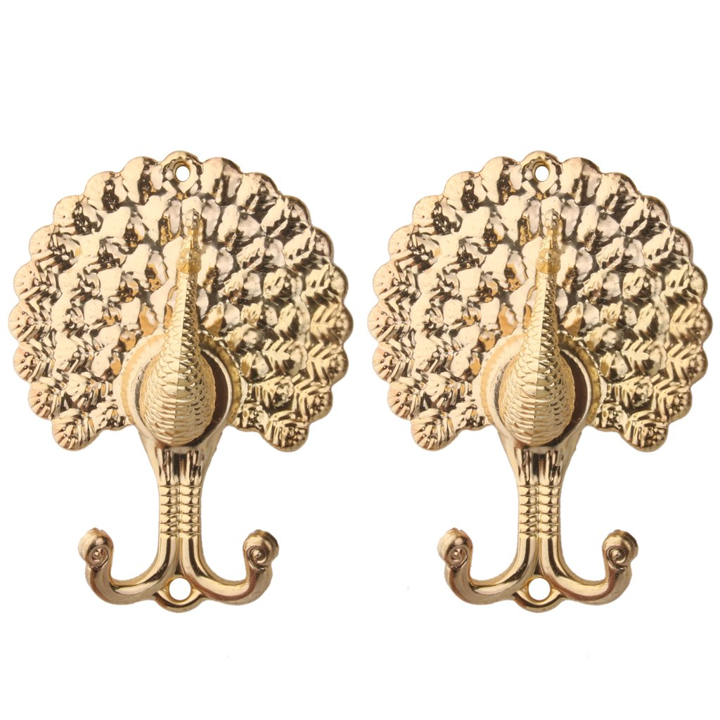 1 Pair Peacock Drapery Curtain Tiebacks Holdback Bag Coats Wall Hooks Golden Generic AEQW-WER-AW145596