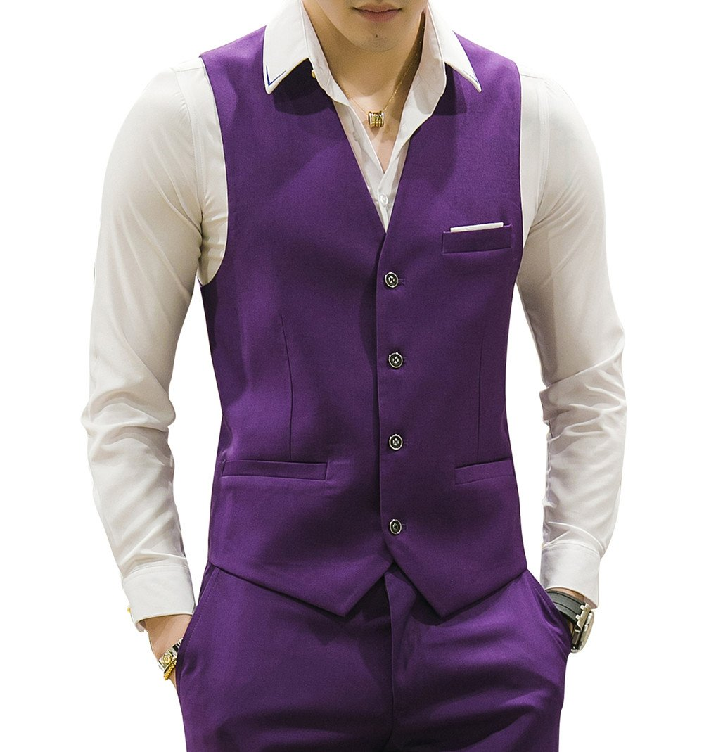 MOGU Mens Waistcoat Causal Suit Vests 10 Colors US Size 42 (Label 5XL) Purple