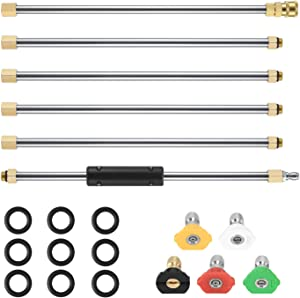 One Sight Pressure Washer Extension Wand, 7.5 ft(90 Inch) Replacement Lance Power Washer Extension with 5 Spray Nozzle Tips, 1/4 Inch Quick Connect, 4000 PSI