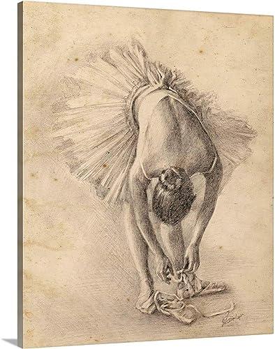 Antique Ballerina Study I Canvas Wall Art Print