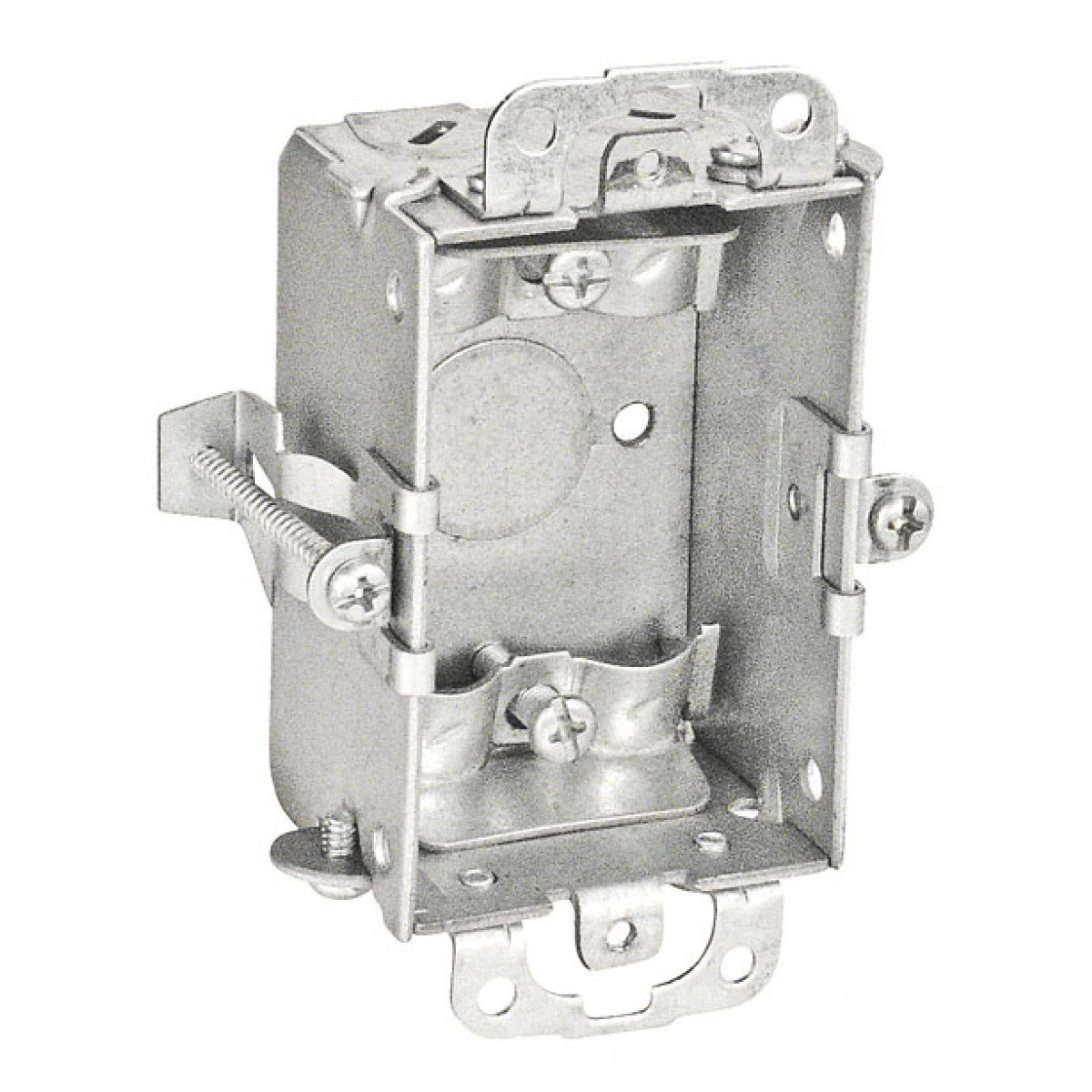2 Pcs, 1-1/2 In. Deep Switch Box w/Clamps for Nonmetallic Sheathed Cable w/Old Work Clips, Zinc Plated Steel, (1) 1/2 In. Bottom Knockout