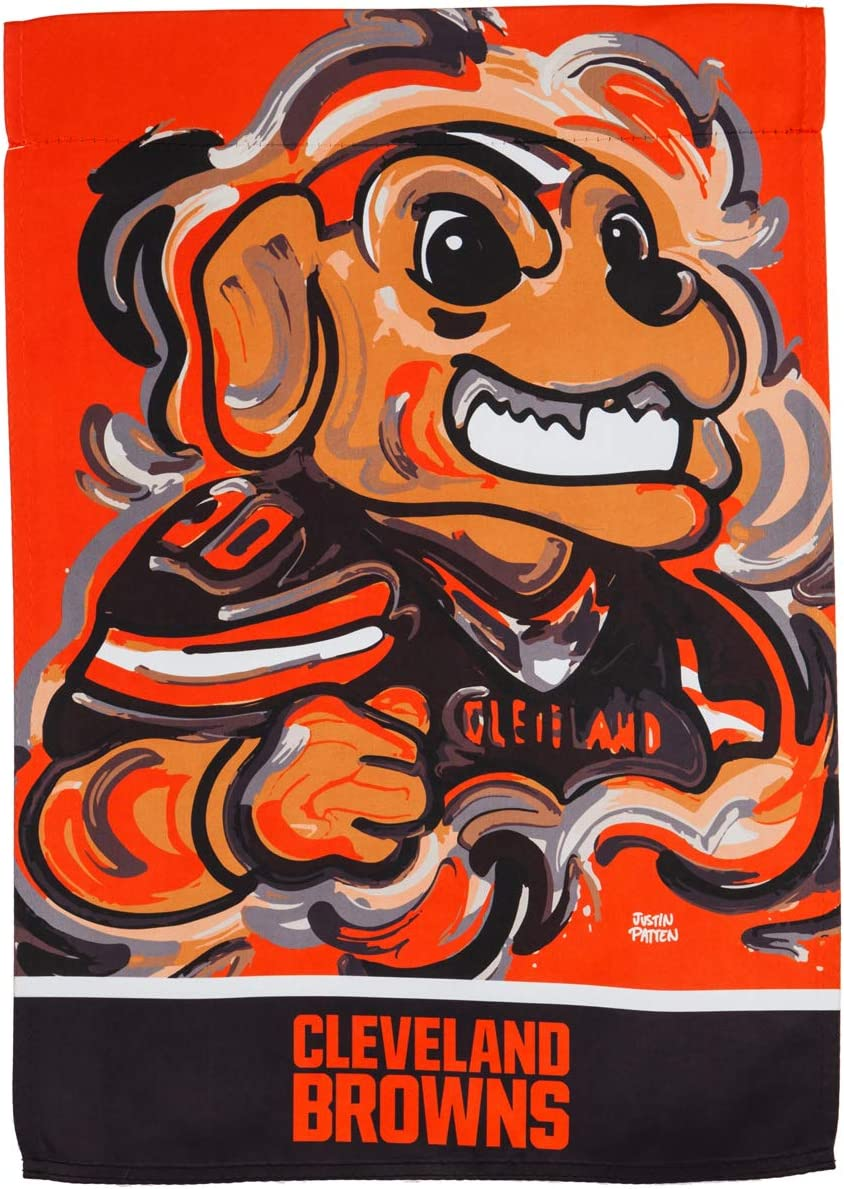 Team Sports America Cleveland Browns Suede Garden Flag 12.5 x 18 Inches Justin Patten