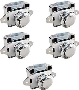 YIEKO Zinc Alloy Push Button Drawer Catch Lock Keyless Cabinet Door Catch Lock Caravan Motorhome Camper Latch (Chrome, 5)