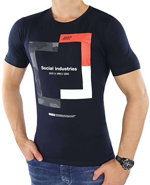 JACK & JONES - Camiseta - para Hombre Azul Azul Small