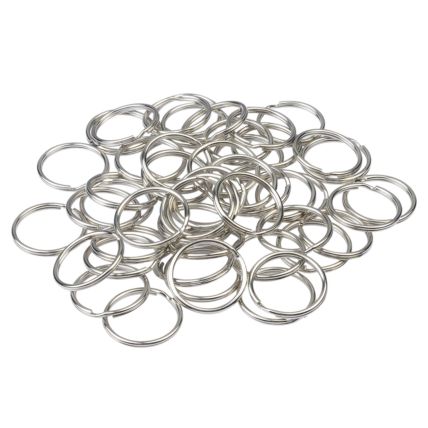 Oisee 50Pcs Metal Split Key Ring with Chain Components Clasp for DIY 1.5/25MM