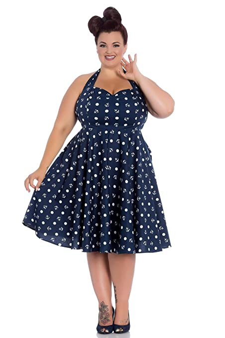 1950s Plus Size Dresses, Swing Dresses Hell Bunny Marina Blue Halter Anchor Dress Nautical pin-up Plus Size $69.99 AT vintagedancer.com