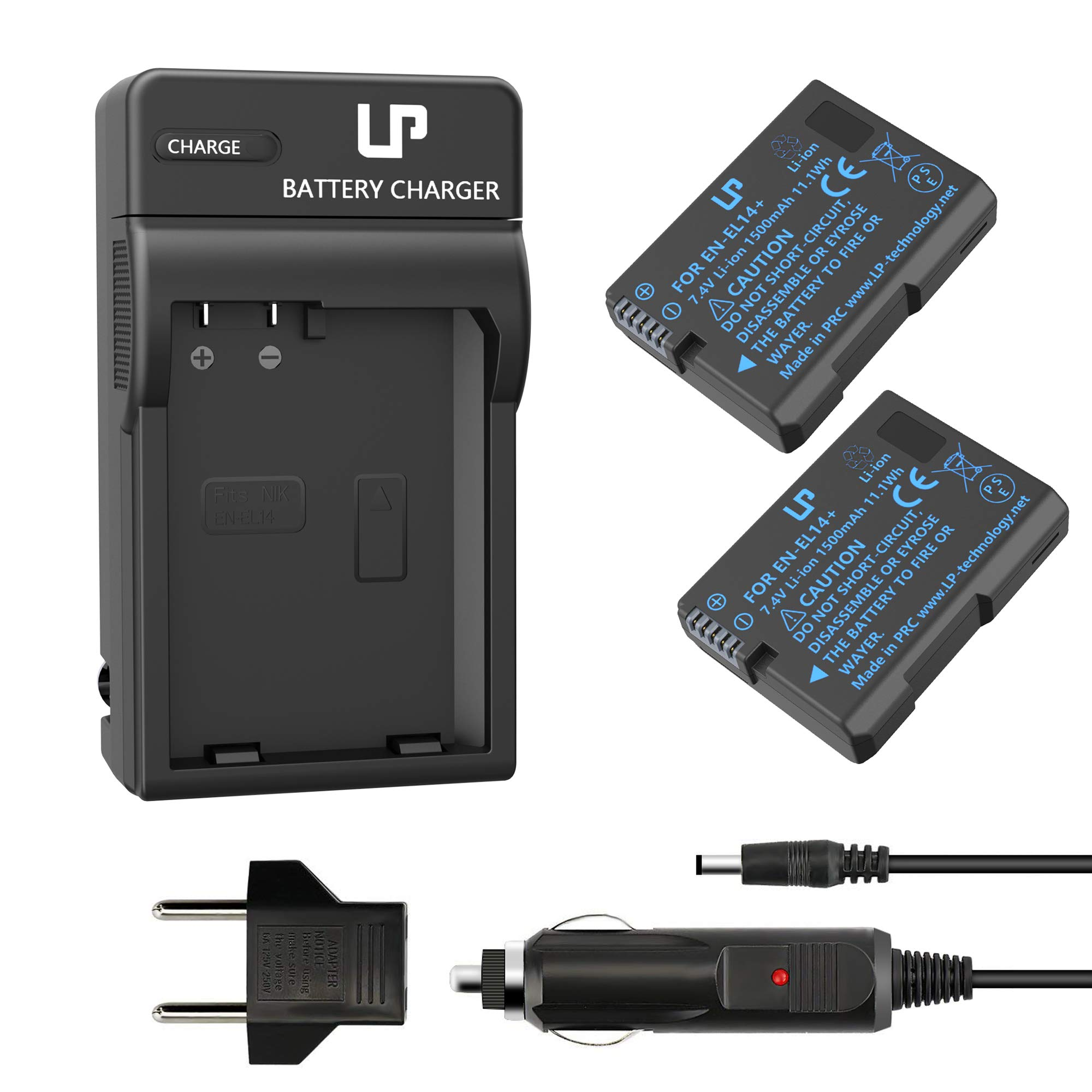 LP EN-EL14 EN EL14a Battery Charger Set, 2-Pack Battery & Charger, Compatible with Nikon D3100, D3200, D3300, D3400, D3500, D5100, D5200, DF & More by LP