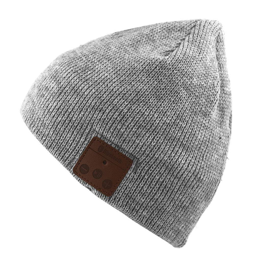 Wireless smart headset advanced knit hat men and women headphones music warm hat, Blue LIN