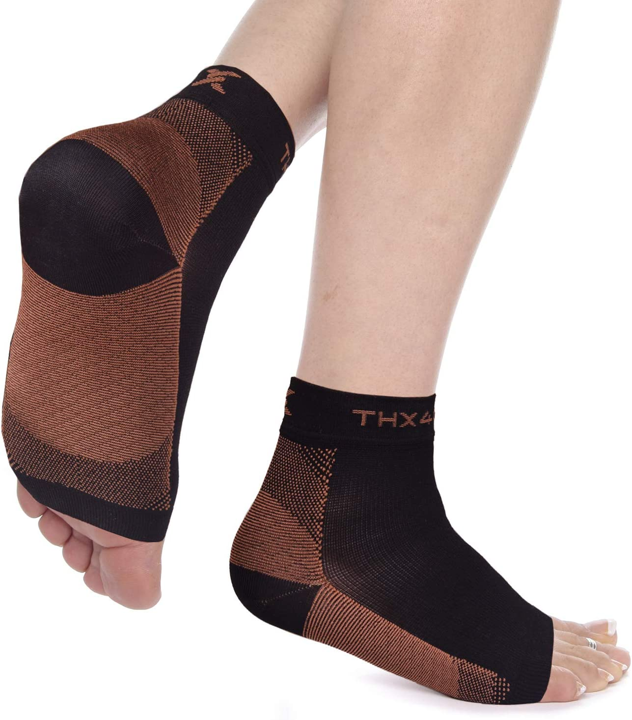 Copper Infused Compression Ankle Socks Women /& Men Black, S//M Anti-Odor Copper Crew Socks 6 Pairs Antibacterial Plantar Fasciitis Socks for Arch Pain Athletic Sport Running Travel