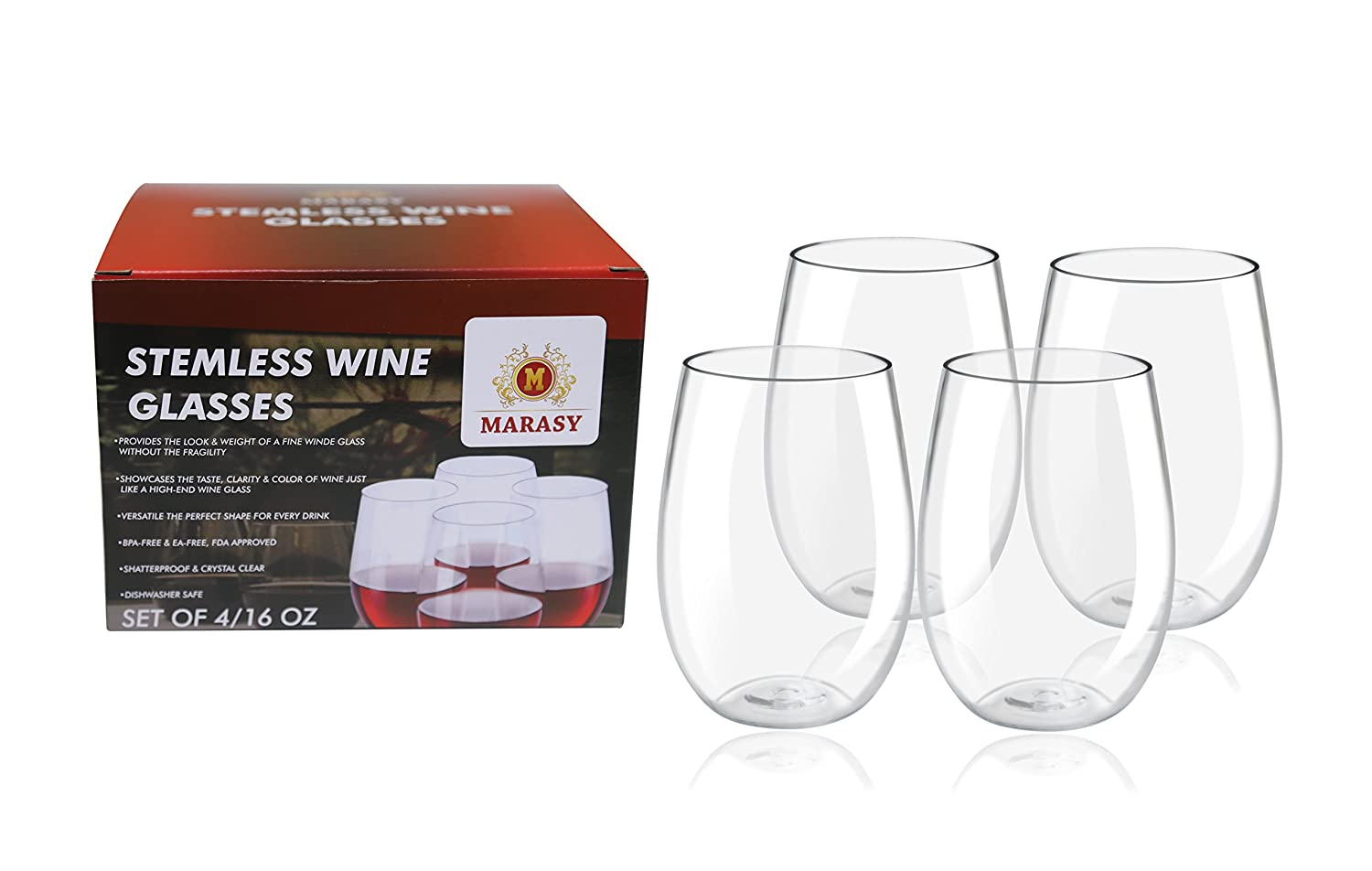 27ef82a49f5 Deluxe 4-Pcs Set Of 16 Oz. Tritan Stemless Unbreakable Wine Glasses By  MARASY, Crystal Clear Shatterproof Drinking Cups, BPA, EA-Free - Dishwasher  ...