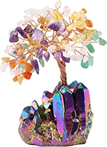 mookaitedecor Colorful Crystal Tree, Quartz Cluster Rainbow Titanium Crystals Base Bonsai Money Tree for Wealth and Luck