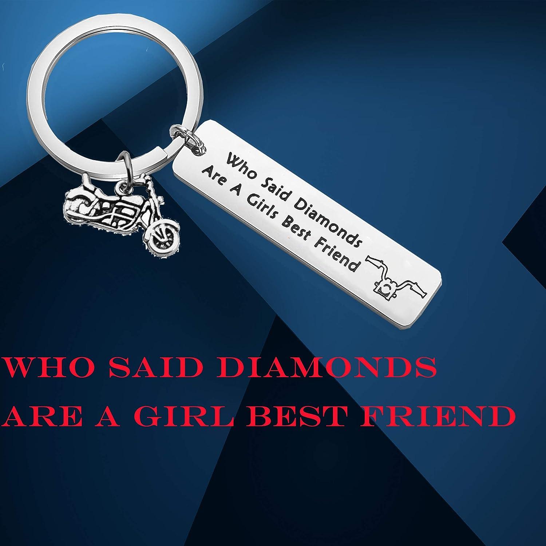 TGBJE Biker Girl Gift Who Said Diamonds are a Girls Best Friend Keychain Gift for Biker Babes