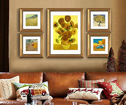 ABM Home - girasol de Van Gogh (oro, 79 cm x 150 cm / Set / 5 piezas ...
