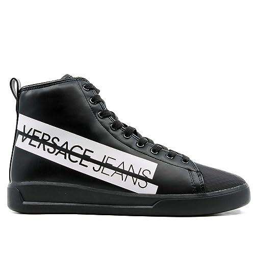 Versace Jeans Sneakers Alta Nera con Box Bianco Logo 39 ...