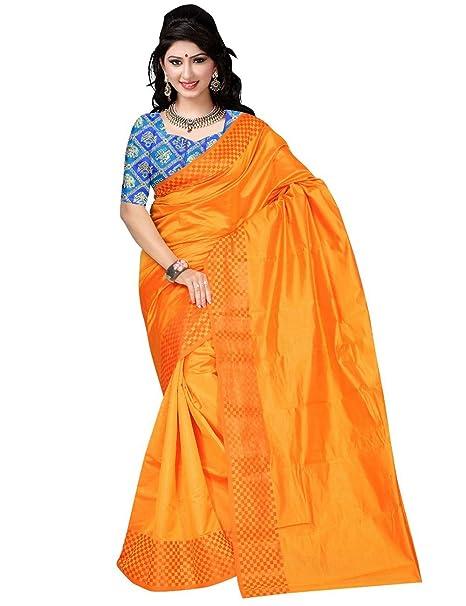 cf087bc65c63b7 arars Women s Plain Soft Silk Saree with Contrast Brocade Blouse Kanjivaram  Kanchipuram Style (Mustard