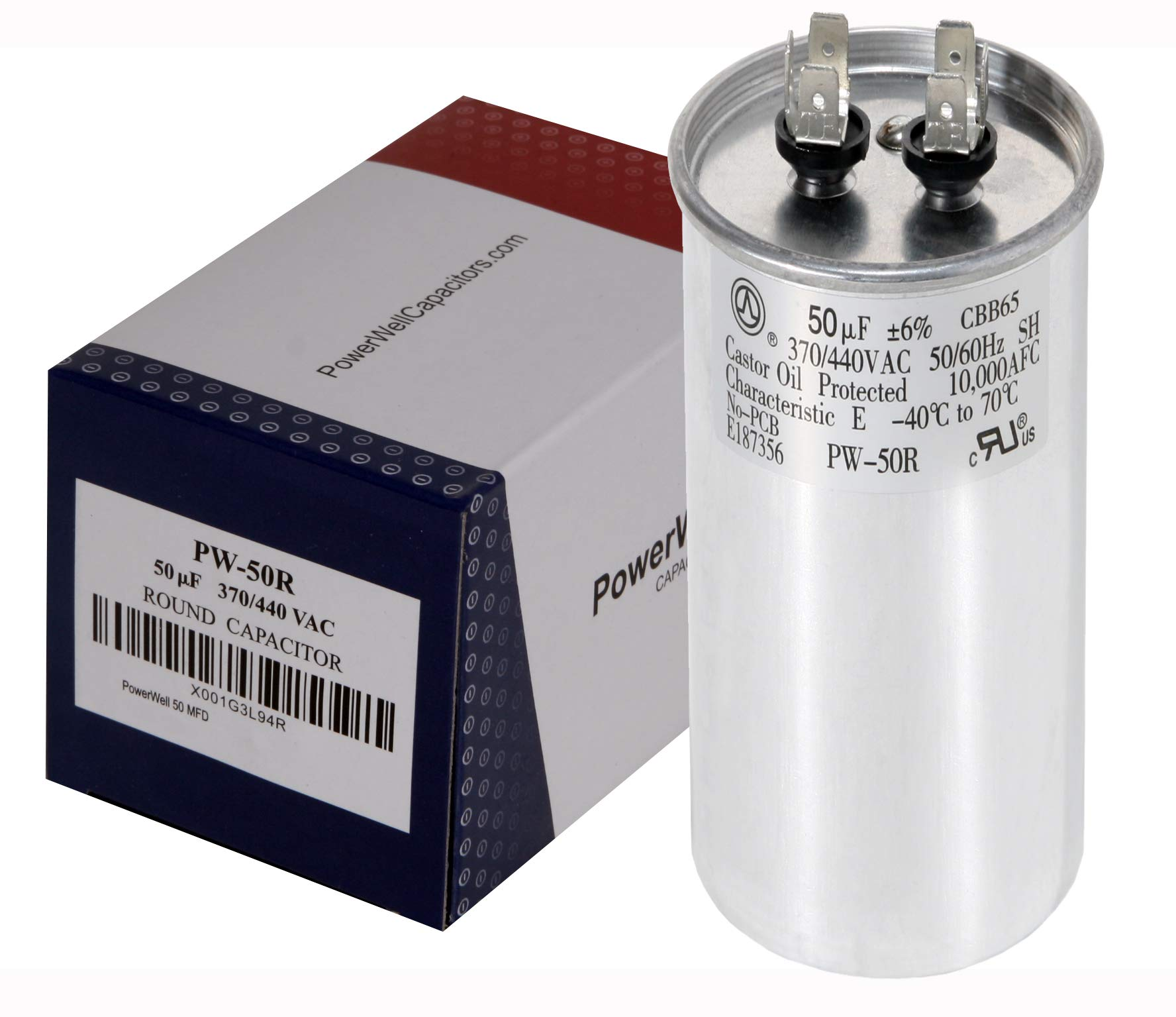 PowerWell 50 MFD uf Motor Run Round Capacitor 370 V VAC or 440 Volt 50 Micro Farad PW-50/R with Size 5-1/2″ Tall and 2″ Wide