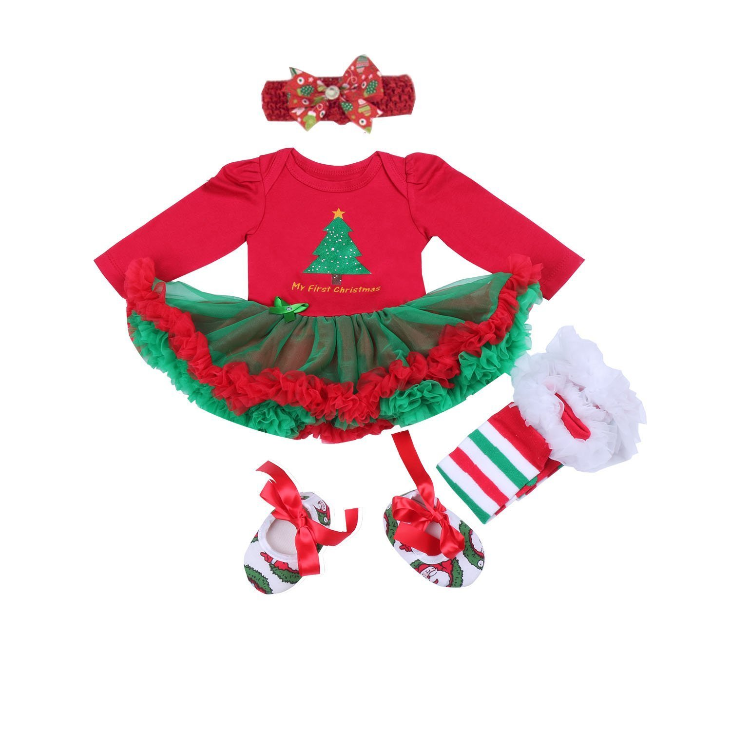 BabyPreg Baby Girls My 1st Christmas Santa Costume Party Dress 4PCS YR150