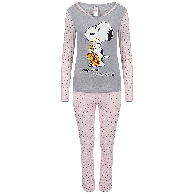 Snoopy - Pijama de manga larga para mujer, con diseño de Mickey Mouse: Amazon.es: Ropa y accesorios