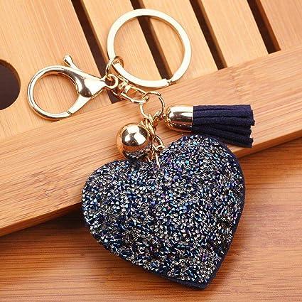 Amazon.com  Rhinestone Heart Keychain Leather Tassel Keychain Women ... 677a2ed976