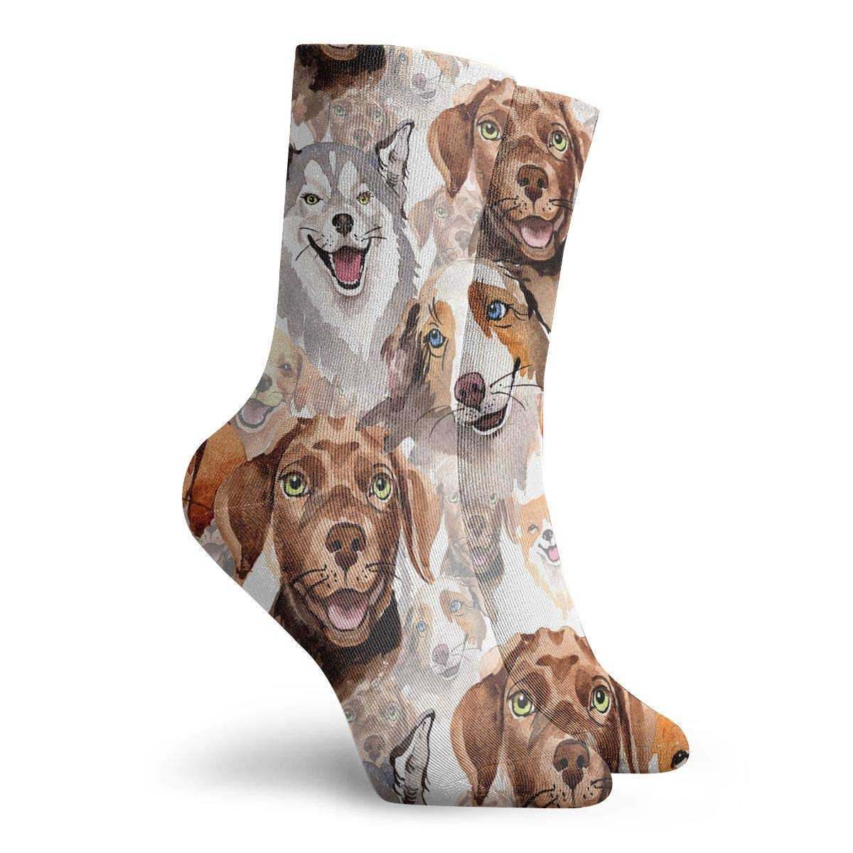 Adult Exotic Dog Pattern Cushion Ankle Socks