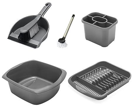 5f625505dea5 ADDIS Washing Up and Cleaning Set - Dish Drainer - Washing Up Bowl -  Dustpan - Dish Brush (Silver): Amazon.co.uk: Kitchen & Home