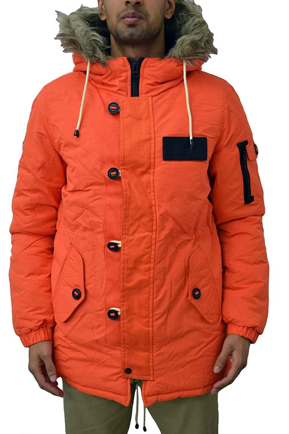 Mens Designer Bellfield Padded Warm Winter Parka Jacket Hooded ...
