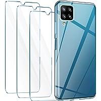 Leathlux Funda Samsung Galaxy A12, 3 Pack Protector de Pantalla Samsung Galaxy A12, Transparente TPU Silicona Funda con…