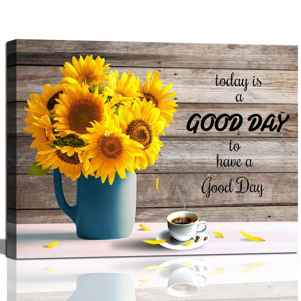 Kitchen Wall Art Inspirational Quotes Sunflower In Vase Canvas Print For Living Room Wall Decor Framed Coffee Canvas Buy Online In Bahrain At Desertcart Productid 198646864