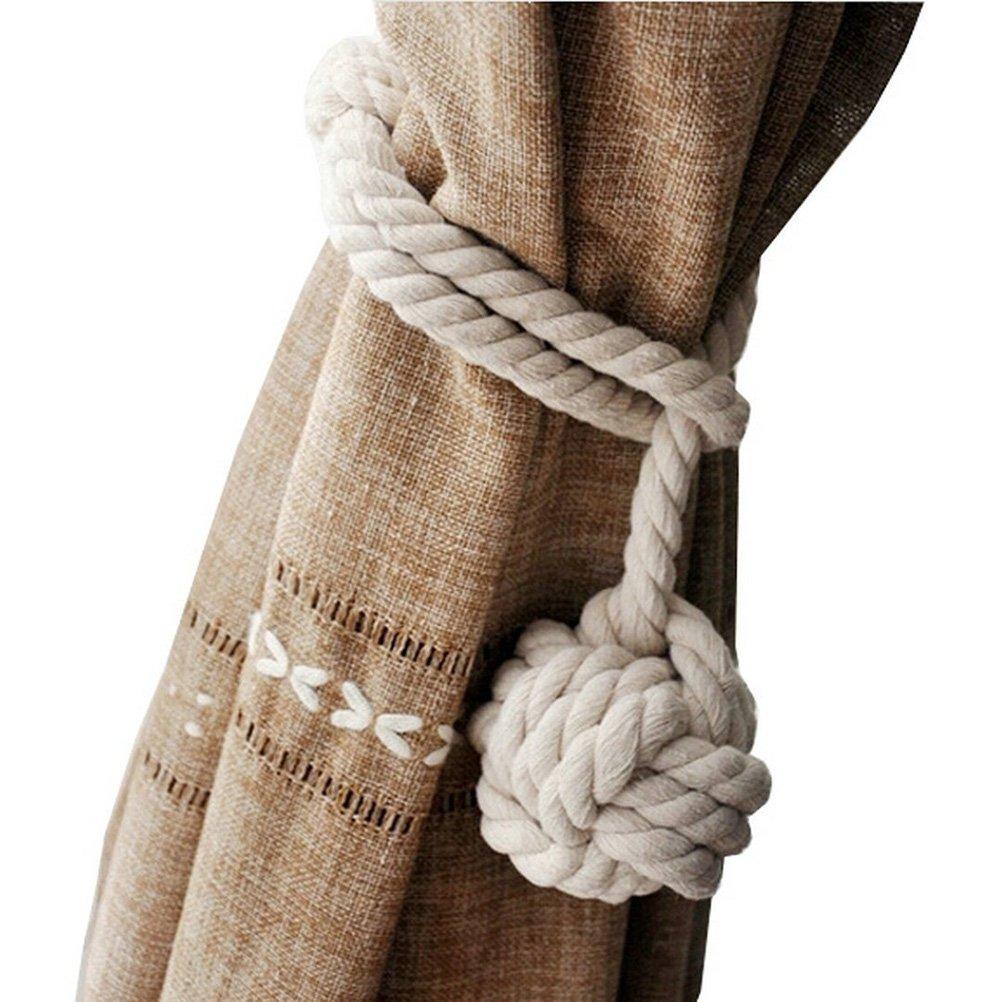 NUOLUX Main, tricot Rideau corde coton Rural corde Tie Band pour plage Decor chambres rustiques (Orange)