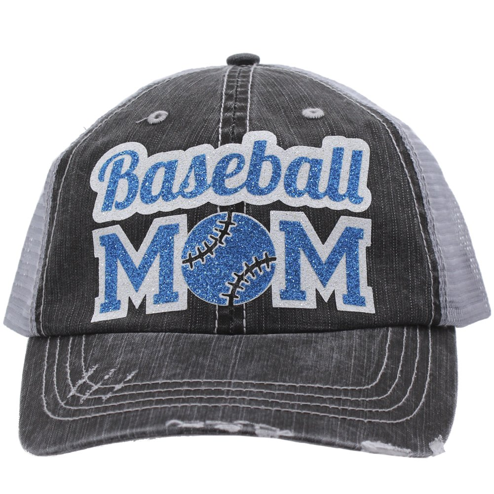 Baseball Mom Dad Sports Glittering Trucker Style Cap Hat| Rocks any Outfit|(Blue)