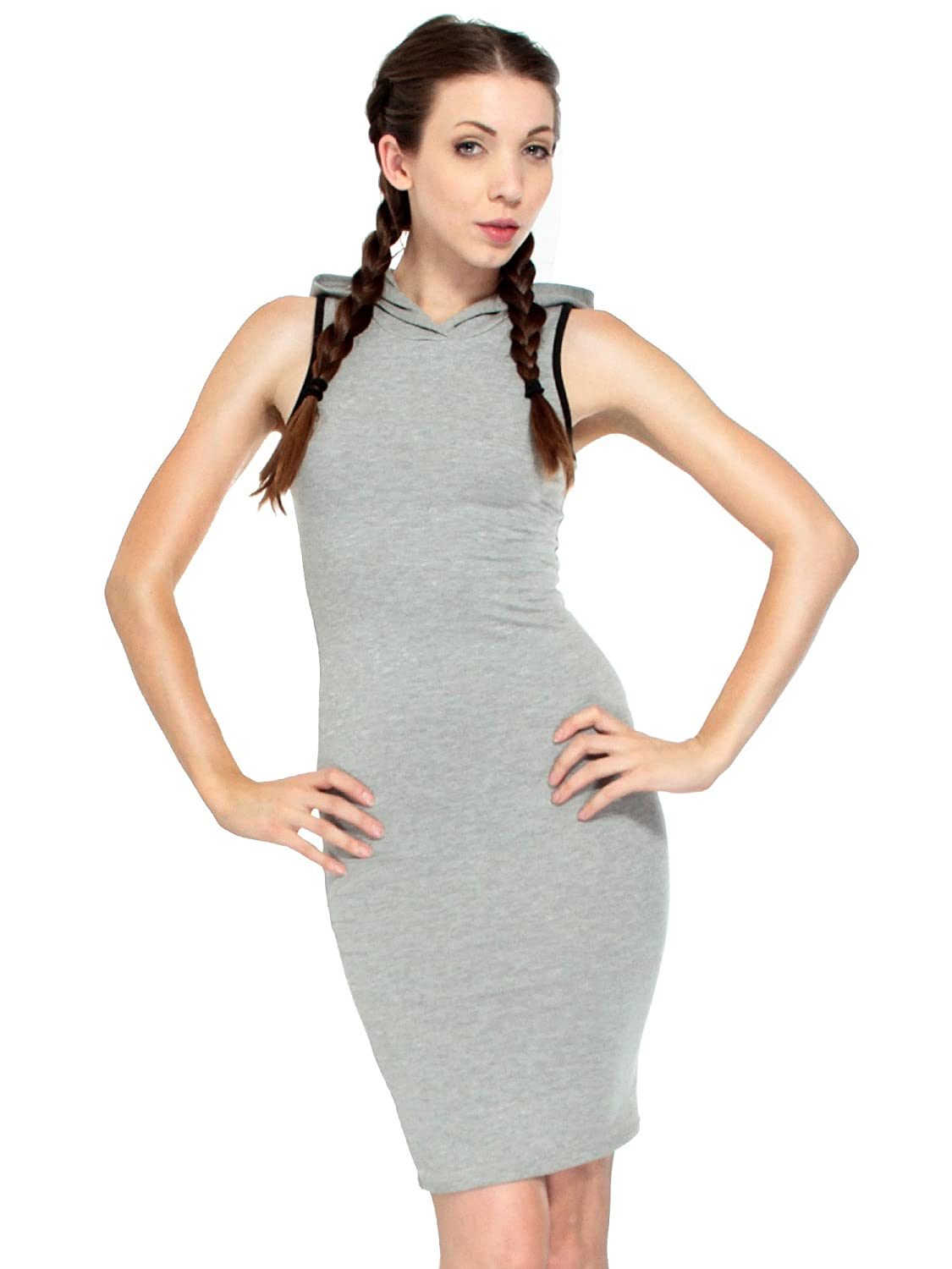 Simplicity Sexy Sleeveless Athletic Hoodie Tank Dress with Stripe
