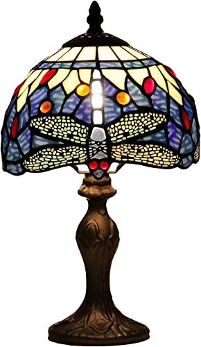 GlassMyth Lighting Tiffany Table Lamp W8H14 Inch Antique Blue Dragonfly Stained Glass Crystal Gem Light