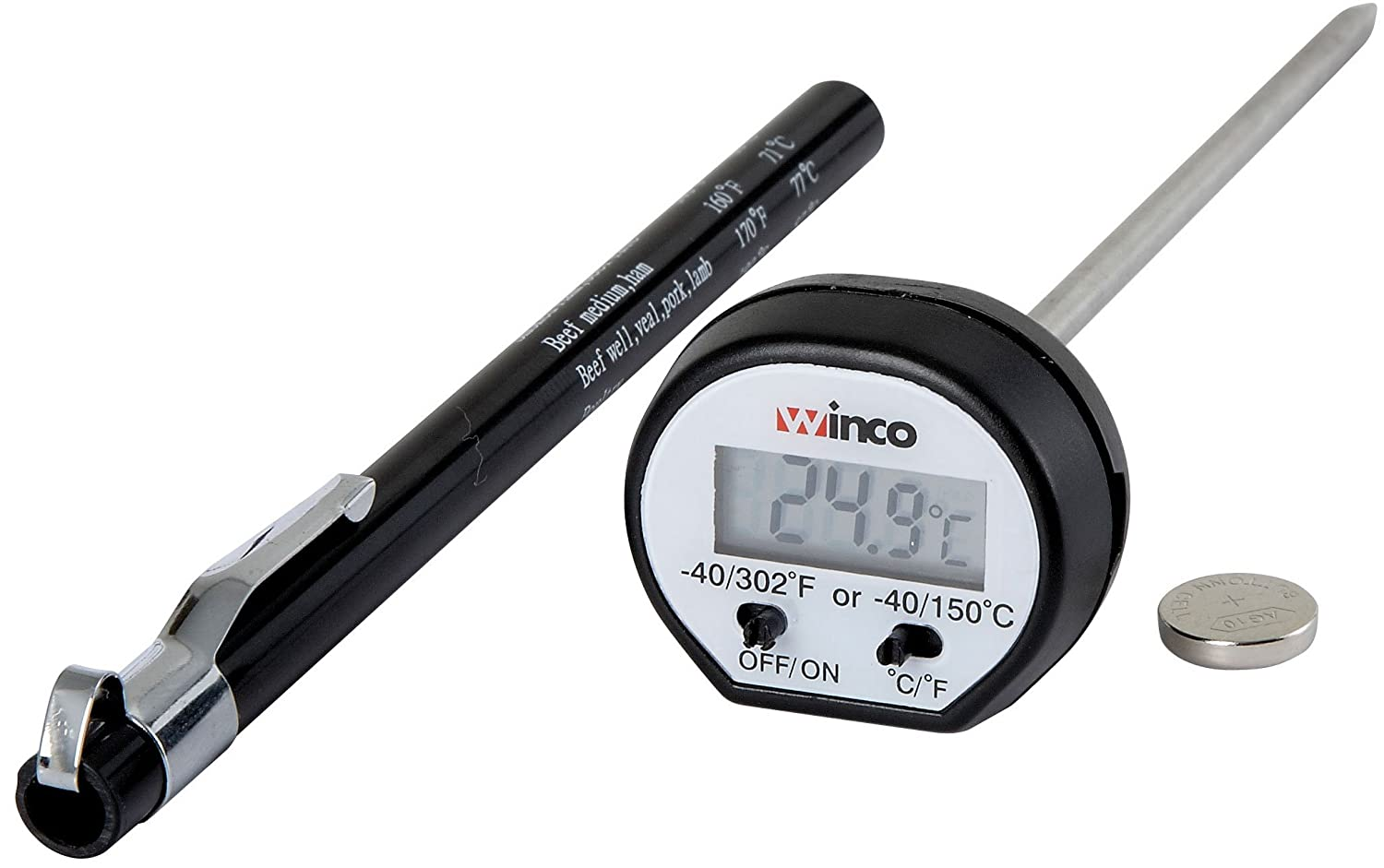 Amazon.com: Winco 1-1/4-Inch Dial Digital Thermometer with 4-3/4 ...