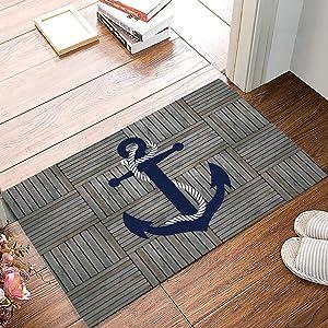 Arts Language Anchor Doormats for Entrance Way Indoor Front Door Welcome Rugs Nautical Anchor Vintage Wood Grain Printed Non-Slip Bath Mat Kitchen Mat Floor Carpet for Bedroom/Office 16x24inch