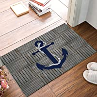 Arts Language Funny Doormats for Entrance Way Indoor Front Door Welcome Rugs Nautical Anchor Vintage Wood Grain Printed…