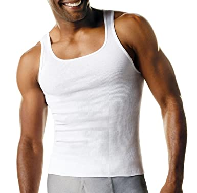 Hanes Mens 6 Pack A-Shirts Classic Tagless Tanks - White - Small