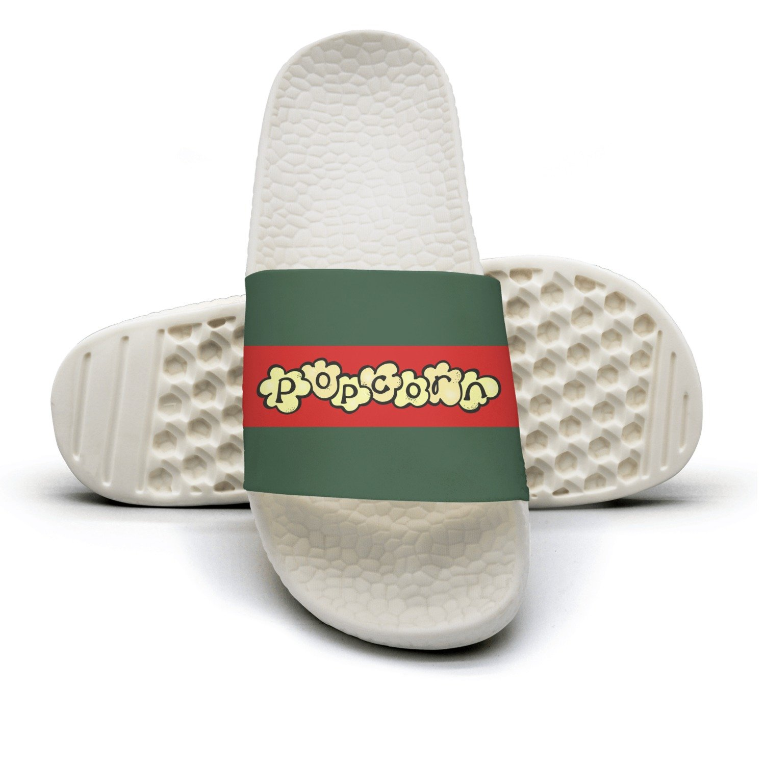 Popcorn Sign Man Red And Green Stripe Flat Slipper Sandals Mules Slippers
