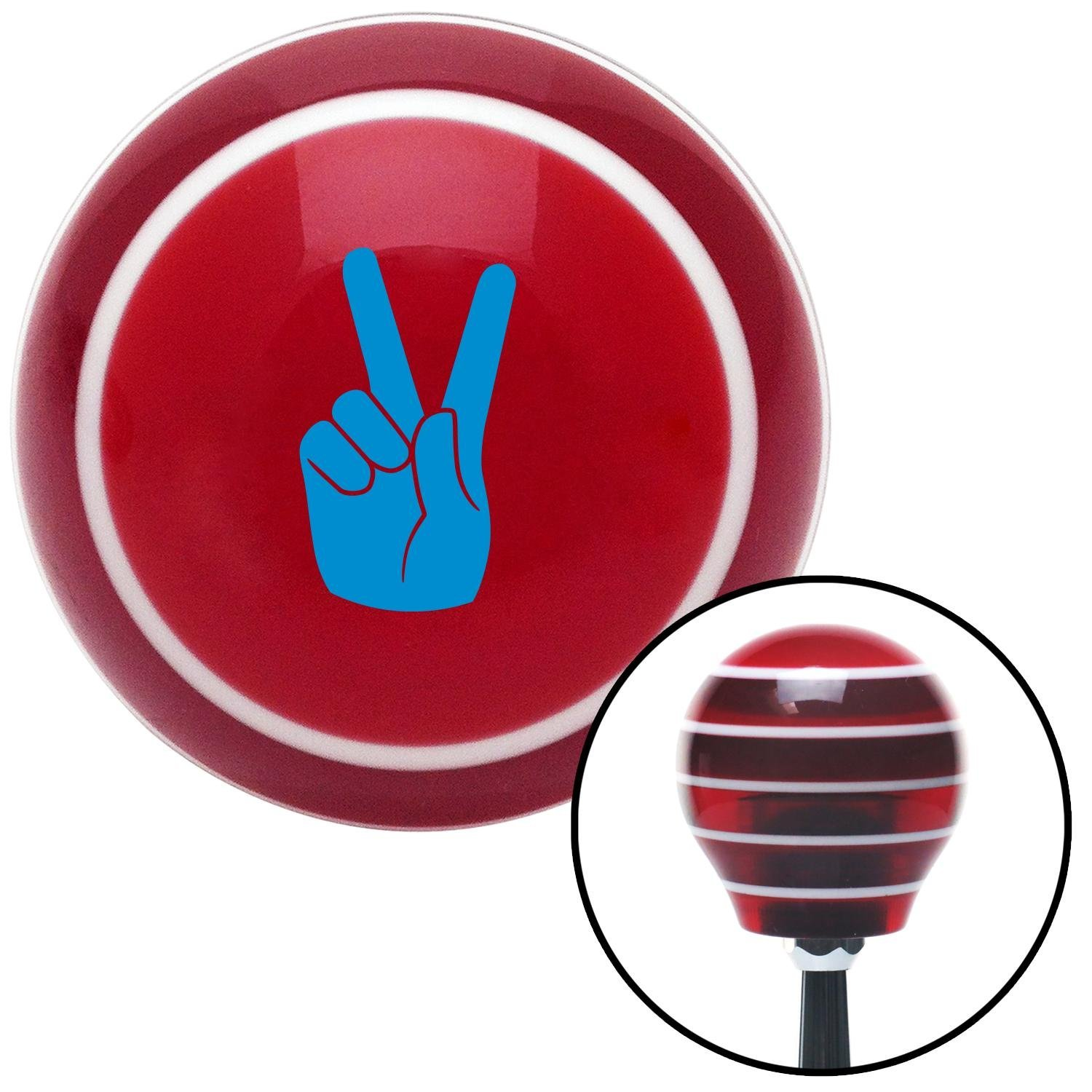 American Shifter 113231 Red Stripe Shift Knob with M16 x 1.5 Insert Blue Hand Making Peace Sign